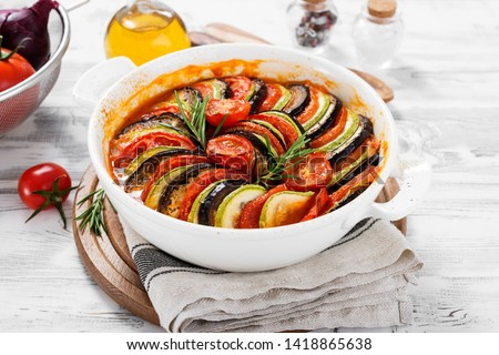 Ratatouille. Traditional French stew of summer vegetables. Ratatouille casserole. #1418865638