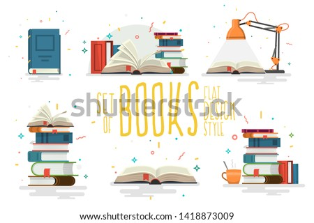 Set of books, flat design style. Vector illustration.