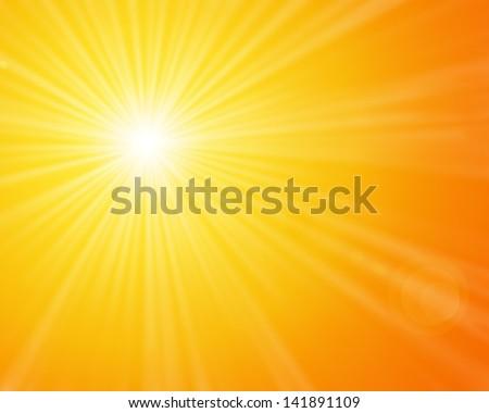 Sunshine - Yellow sunny sun light on a bright and warm orange sky