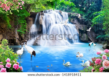 Lovely waterfall, Fantastic birds, Trees and roses with sea Royalty-Free Stock Photo #1418918411