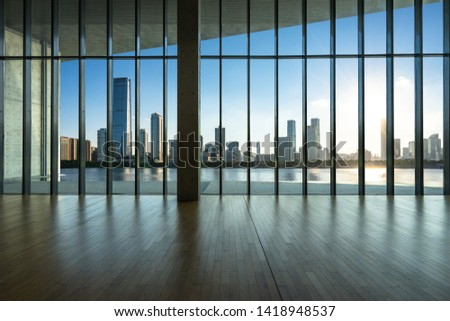 interior of office building with city skyline