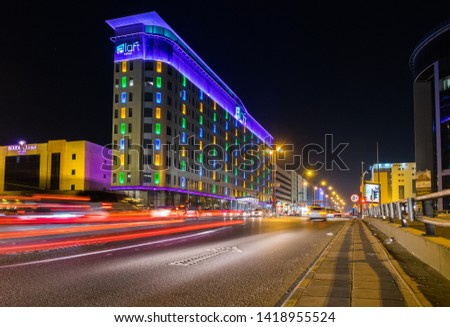 Riyadh, Saudi Arabia. 07/11/2017. Aloft Hotel at night. #1418955524