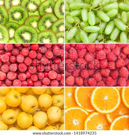 Healthy fruits and berries background. Assorted set fresh ripe food. Orange, kiwi, grapes, apples, raspberries. Summer super sale banner. Top view. #1418974235