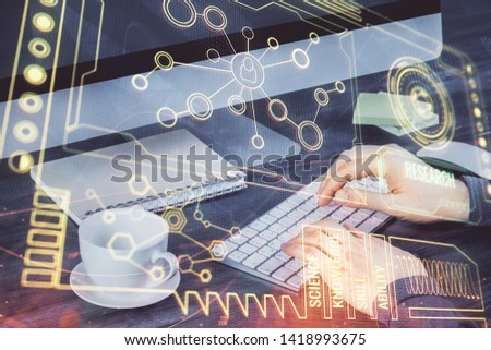 Double exposure of tech drawings with hands working on computer background. Concept of innovation. #1418993675