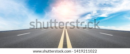 Straight highway road and sky clouds landscape,panoramic view #1419211022
