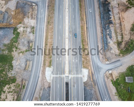 Aerial view of the highway road in the countryside of Thailand. #1419277769