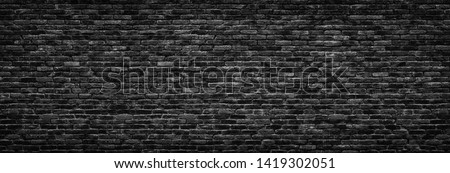 black brick wall background. dark stone texture #1419302051