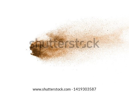 Sand explosion isolated on white background. Abstract sand cloud. Gold sand splash against on clear background.  #1419303587