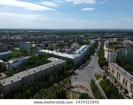 Shooting a quadrocopter from a bird's flight in Yaroslavl in the Park of the World #1419321845
