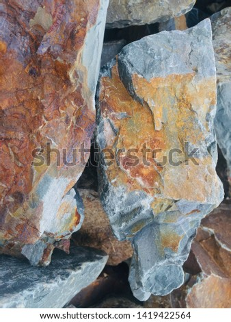 Stones/Rocks pilings. Important material found in mountainous country Nepal for building the walls and pavements.  #1419422564