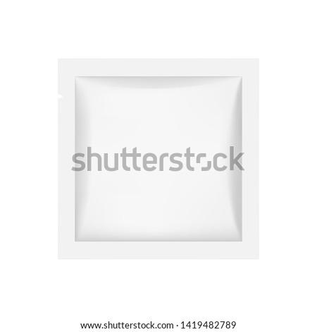 Small square sachet mockup isolated on white background. Vector illustration #1419482789