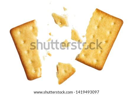 Crushed dry cracker, isolated on white background #1419493097