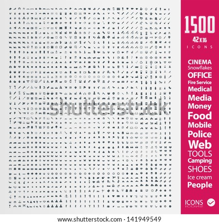 Set of 1 500 Quality icon ( Fire Service icons , Medical icons , Media icons , Money icons , Food icons ,Mobile icons , Police icons ,Web icons , Camping icons, butterfly icons snowflakes icon ) Royalty-Free Stock Photo #141949549