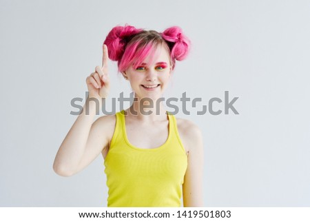 woman with pink hair make-up smiling portrait #1419501803