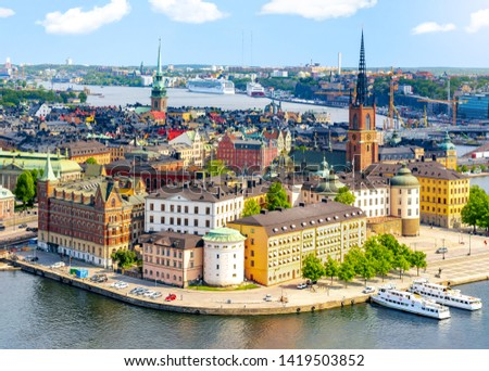 Stockholm old town (Gamla Stan) cityscape from City Hall top, Sweden #1419503852
