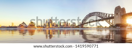 Panorama of Sydney harbour and bridge in Sydney city, New south wales, Australia  #1419590771