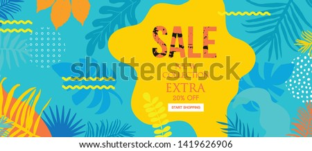 Sale website banner. Sale tag. Sale promotional material vector illustration. Design for social media banner, poster, email, newsletter, ad, leaflet, placard, brochure, flyer, web sticker #1419626906