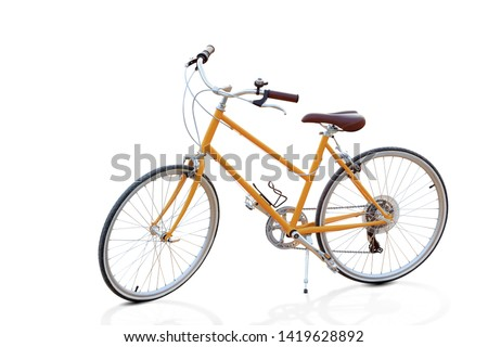 Stylish womens orange bicycle isolated on white background with clipping path #1419628892