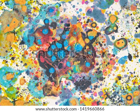 Abstract splatter paint  background made with mixed acrylic paints on watercolour paper in pastel tones #1419660866