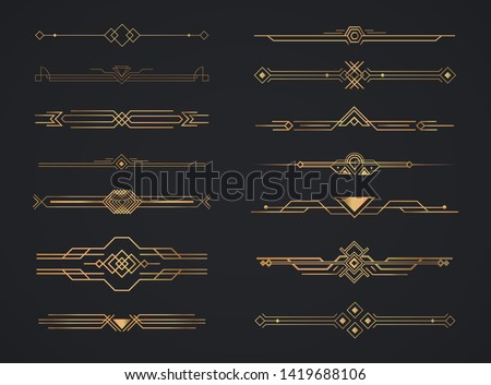 Art deco golden headers. Set of Art deco calligraphic page decoration vignettes. Vector design golden art deco border template. #1419688106