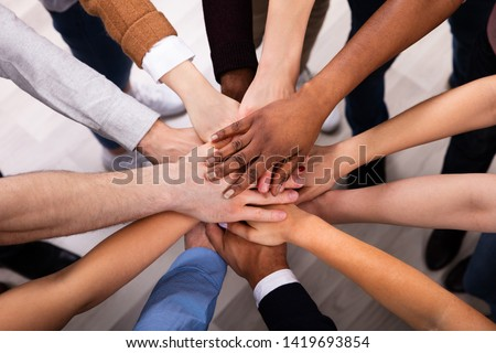 High Angle View Of Multiracial Friend Stacking Hand Together #1419693854