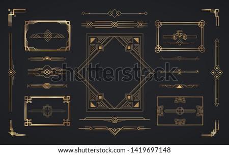 Set of Art Deco elements. Vector elements of geometric golden label frame, gold frames, vintage antique elegant design set. #1419697148