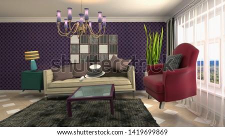 Zero Gravity Sofa hovering in living room. 3D Illustration #1419699869
