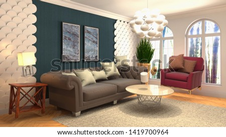 Zero Gravity Sofa hovering in living room. 3D Illustration #1419700964