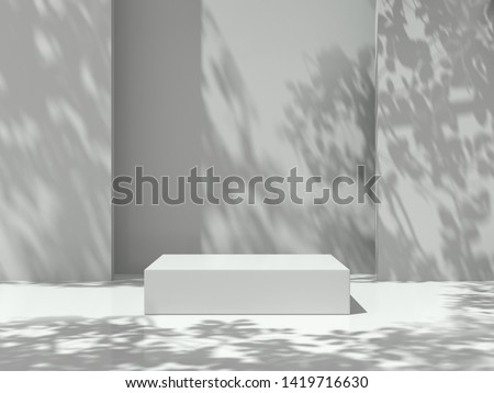 Pedestal for display,Platform for design,Blank product stand in Empty room with Tree shadow on the wall .3D rendering. #1419716630