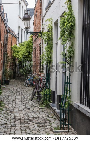 Brussels Old Town / Belgium - 06 07 2019: The narrow medieval Rue de la Cigogne - Ooievaarstraat -  Stork street with cobble stones and tiny houses #1419726389