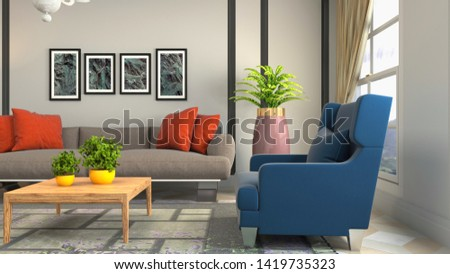 Interior of the living room. 3D illustration. #1419735323