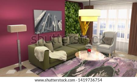 Interior of the living room. 3D illustration. #1419736754