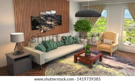 Interior of the living room. 3D illustration. #1419739385