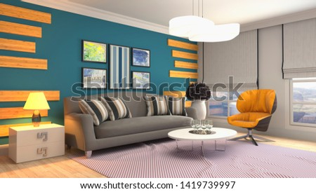 Interior of the living room. 3D illustration. #1419739997