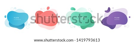 Red flat shape and green fluid blob, blue liquid stain and violet geometric form. Set of isolated abstract aqua spot with gradient or dynamic color. Background for card or template design for flyer. #1419793613