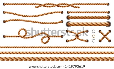 Set of isolated straight ropes and tied cross strings, realistic navy thread through metallic holes. Intertwined navy 3d cord. Vintage brown looped fiber with knot and noose. Nautical twisted whipcord #1419793619