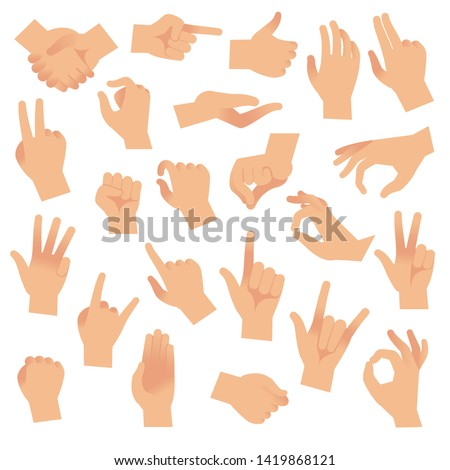 Gesturing hands. Hand with counting gestures, forefinger sign. Open arm showing signal and handshake, interactive communication vector set