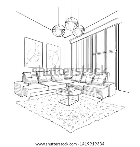 Living room interior sketch with coffee table. Royalty-Free Stock Photo #1419919334