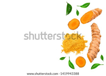 Turmeric powder and turmeric root isolated on white background with copy space for your text. Top view. Flat lay #1419943388