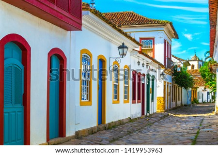 Streets and houses of historical center in Paraty, Rio de Janeiro, Brazil. Sunny day in Paraty.  Paraty is colonil city listed Unesco #1419953963