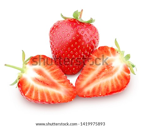 Strawberry isolated on white background with clipping path (clipping path is only on objects, not on shadows) #1419975893