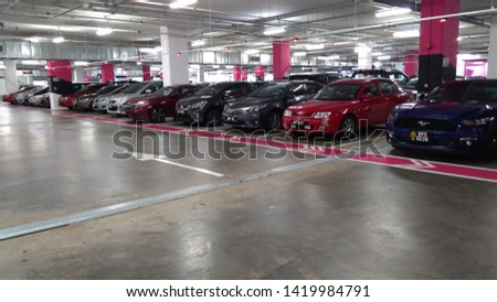 Kuala Lumpur, MALAYSIA - June 8, 2019: View image of Car parking in car park in Malaysia.  #1419984791