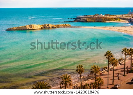 View of the Mediterranean Sea. Monastir. Tunisia. Panoramic view of the city and the coast opens from the observation tower Ribat #1420018496