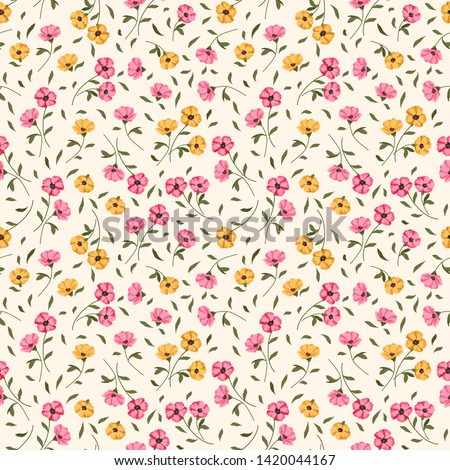 Seamless raster ornamental floral pattern. Background for printing on paper, wallpaper, covers, textiles, fabrics, for decoration, decoupage, scrapbooking and other #1420044167