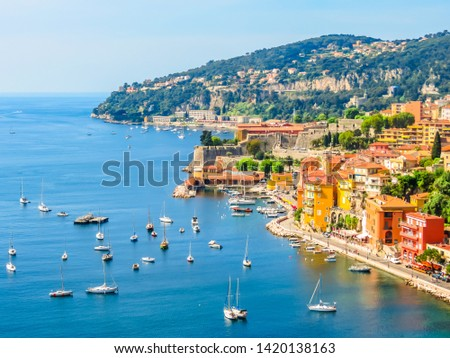 Aerial view of Villefranche-sur-Mer. Landscape of the Cote d'Azur, Villefranche-sur-Mer, France Royalty-Free Stock Photo #1420138163