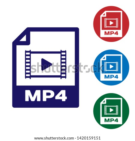Blue MP4 file document icon. Download mp4 button icon isolated on white background. MP4 file symbol. Set color icon in circle buttons. Vector Illustration