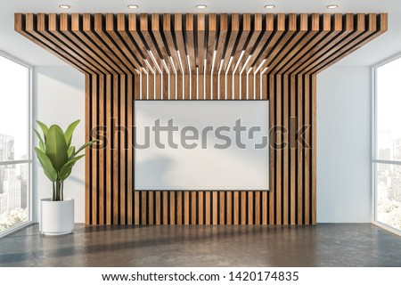 Interior of empty office hall with white and wooden walls, concrete floor, horizontal mock up poster frame and potted plant. Concept of advertising. 3d rendering #1420174835