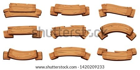 Wooden banners. Rustic signboards and direction boards wooden blank ribbons vector design template. Textured billboard collection, panel plywood various illustration Royalty-Free Stock Photo #1420209233