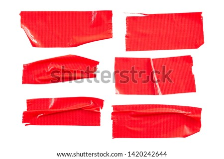 Set of Red tapes on white background. Torn horizontal and different size Red sticky tape, adhesive pieces. #1420242644