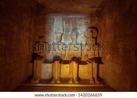 Ptah, Amun-Ra, Ramses and Ra-Horakhty sitting next to each other in the Great Temple of Abu Simbel #1420266659
